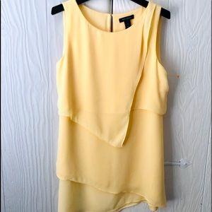 WHBM Yellow sleeveless asymmetrical blouse med